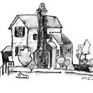 Little House black and white pen and ink work by Naquaiya