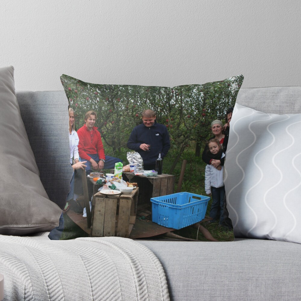 My family after work in my apples plantation Throw Pillow