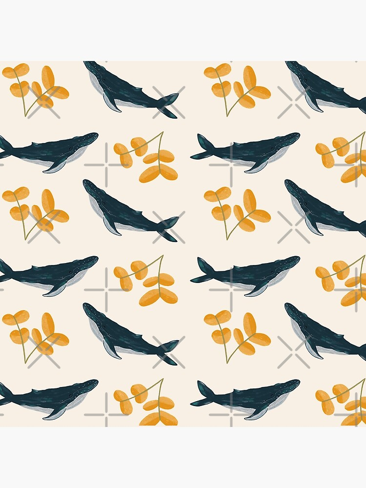 Happy Whales and Florals Pattern by ohjessmarie