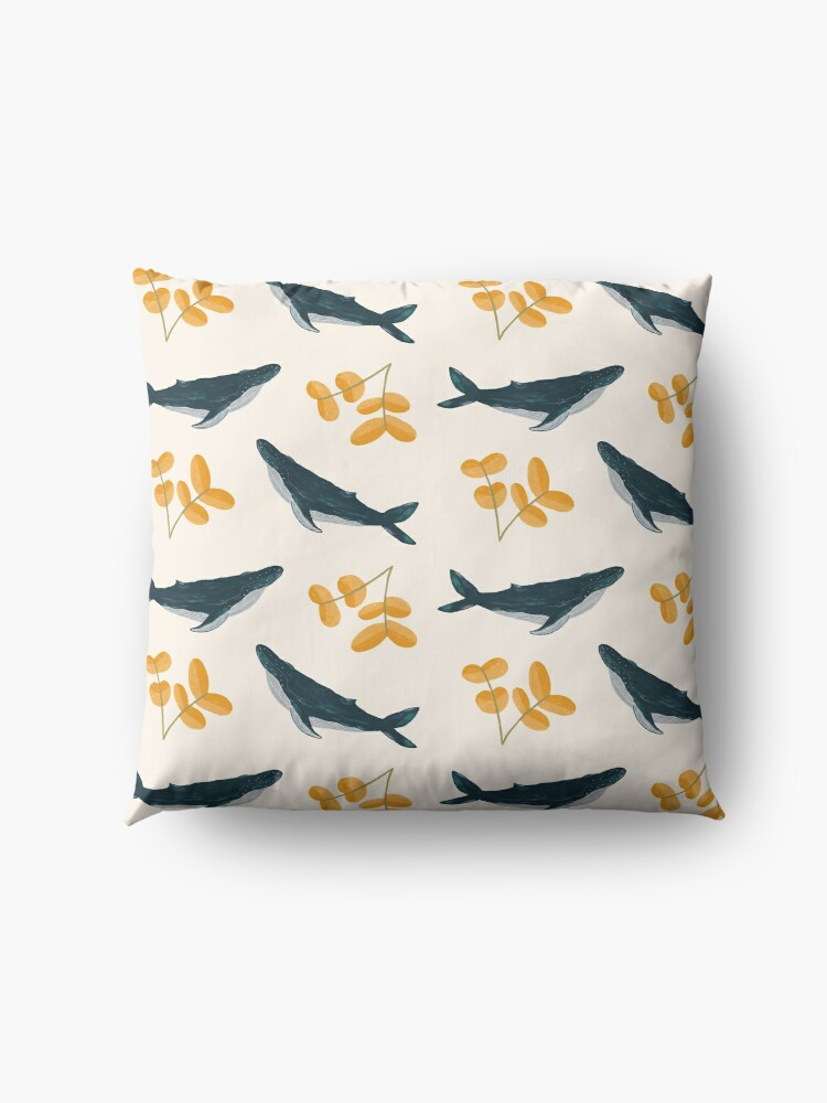 Alternate view of Happy Whales and Florals Pattern Floor Pillow