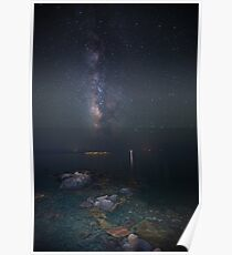 Milky way at a rocky sea coast in Syros island, Greece VER.II Poster