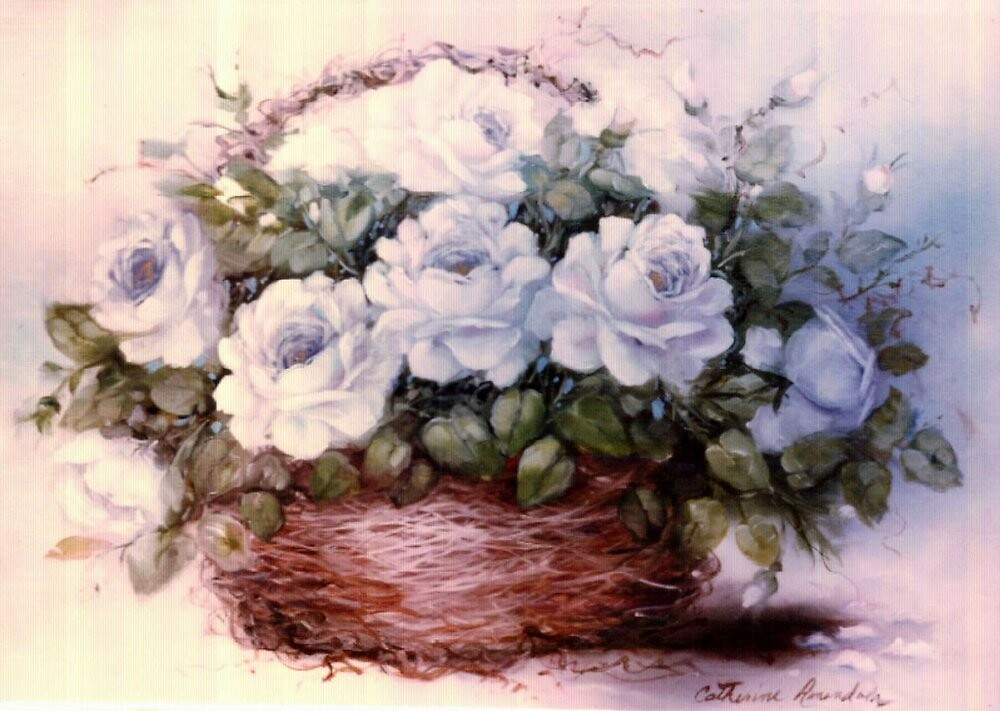 White Roses in Willow Basket by Cathy Amendola