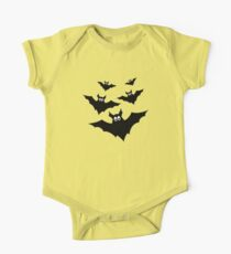 Cool cute Black Flying bats Halloween on Orange One Piece - Short Sleeve
