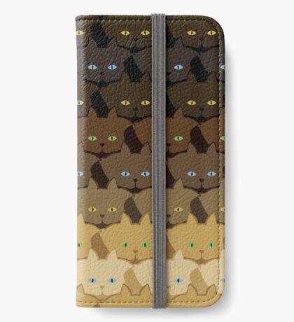 Brown Horizontal Stripe Cattern [Cat Pattern] iPhone Wallet