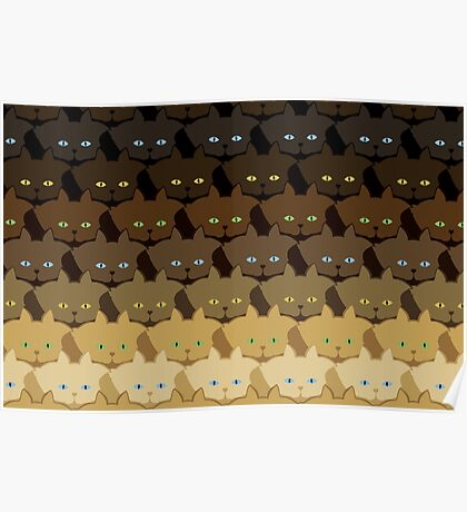 Brown Horizontal Stripe Cattern [Cat Pattern] Poster