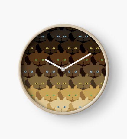 Brown Horizontal Stripe Cattern [Cat Pattern] Clock