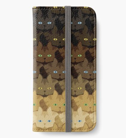 Brown Tabby Horizontal Stripe Cattern [Cat Pattern] iPhone Wallet