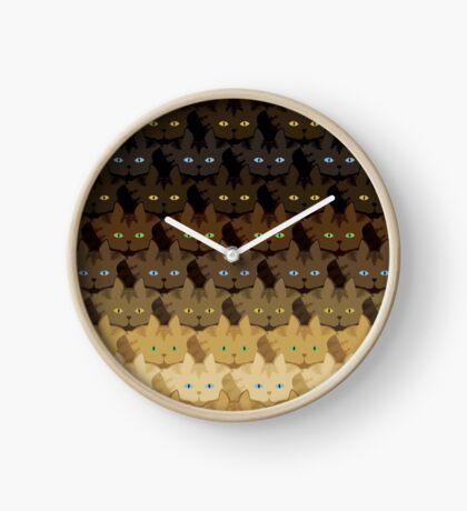 Brown Tabby Horizontal Stripe Cattern [Cat Pattern] Clock