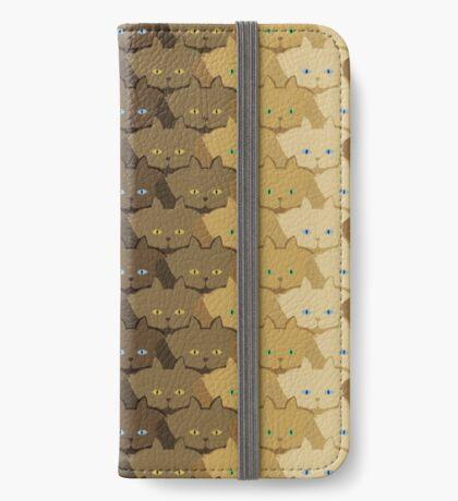 Brown Vertical Stripe Cattern [Cat Pattern] iPhone Wallet