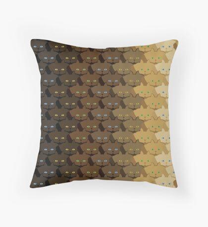 Brown Vertical Stripe Cattern [Cat Pattern] Throw Pillow