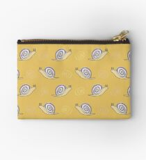 Illustrated Snail and Swirls Pattern Zipper Pouch