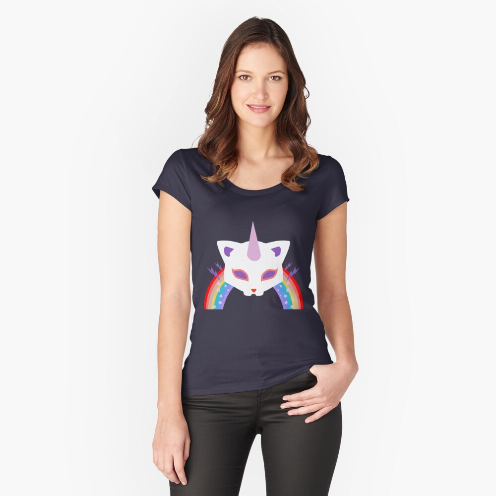 Kitty Abschnitt Rainbow Miraculous Ladybug Tailliertes Rundhals-Shirt