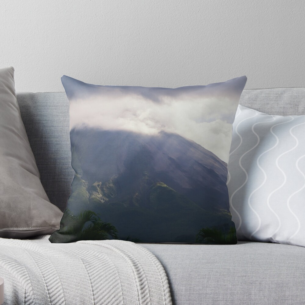 Arenal Volcano In the Mist Throw Pillow