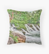 Painted San Antonio Waterfalls Throw Pillow