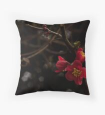 Quince, Red Flowering Throw Pillow