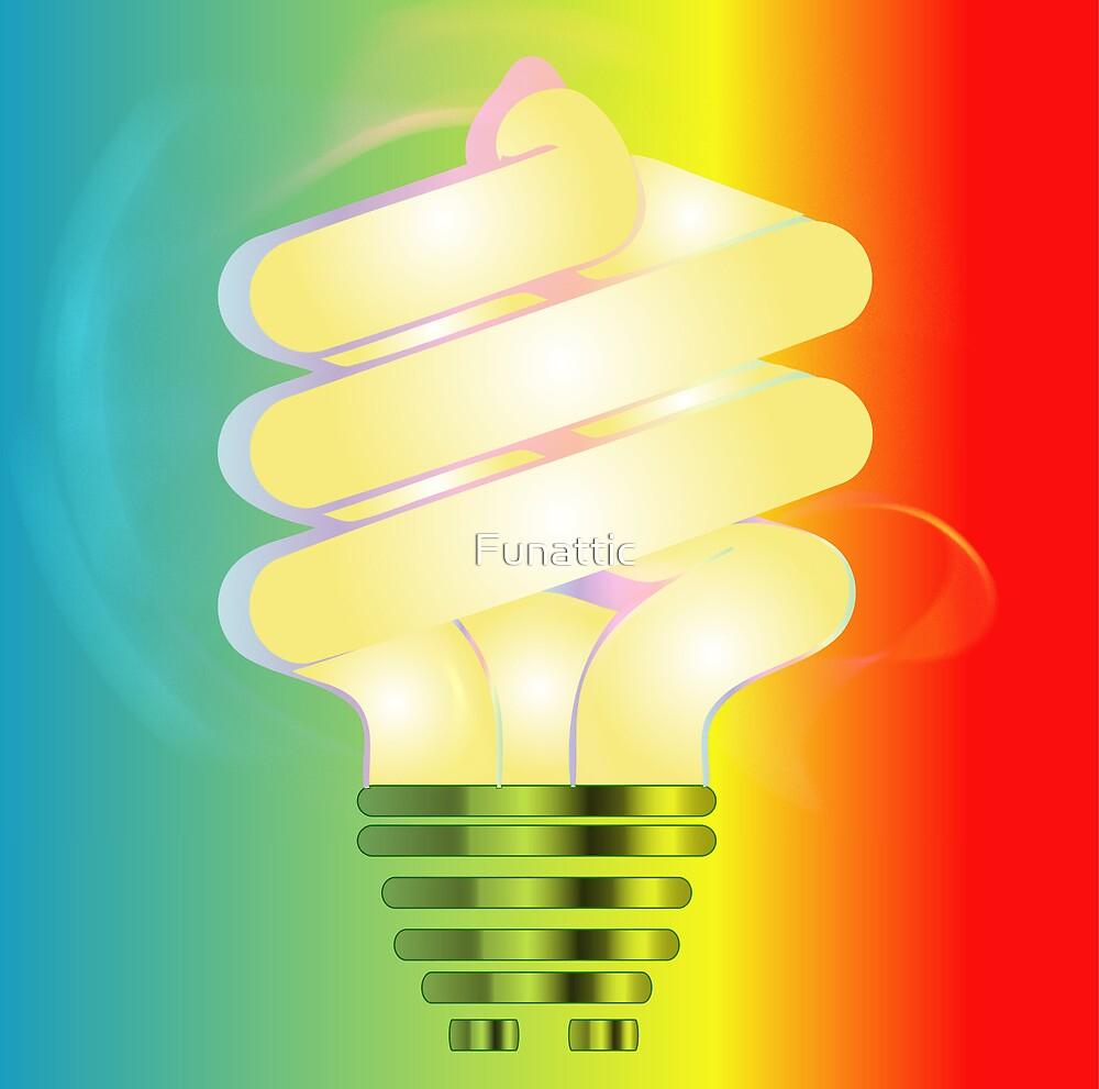 Energy saving light bulb illustration on colorful background  by Funattic
