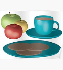 Tea and cookies Illustration Poster