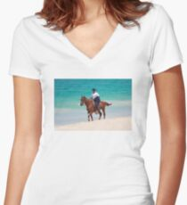 Horse rider on a Tropical Beach in Florida Women's Fitted V-Neck T-Shirt