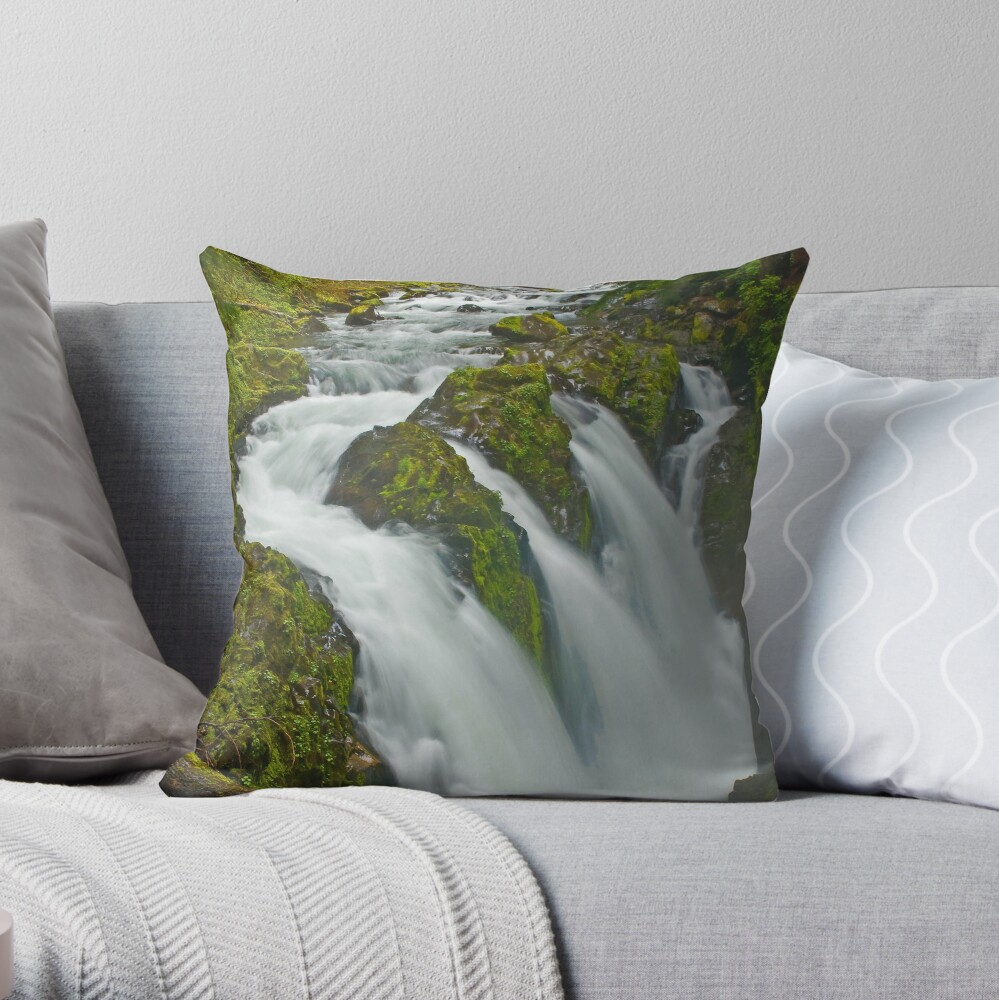 Sol Duc in the Mist Throw Pillow
