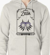 Sudadera con capucha y cremallera Zelda Legend - Doodle de la máscara de Majora