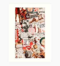 red retro collage Art Print