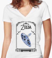 Zelda legend - Ocarina doodle T-shirt col V femme
