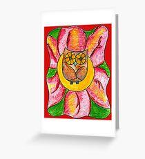 Eulen-Blumen-Baby Grußkarte