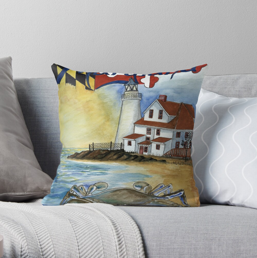 Cove Point Lighthouse Solomons  Throw Pillow
