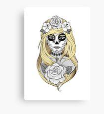Santa Muerte Blond hair Canvas Print