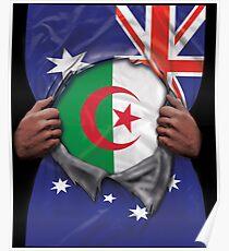 Algeria Flag Australian Flag Ripped - Gift For Algerian From Algeria Poster