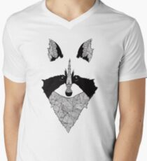 Mapache blanco y negro Camiseta de cuello en V