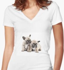 Frenchie Puppy Pals Women's Fitted V-Neck T-Shirt