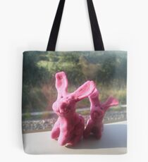 Rabbits on a train II Tote Bag