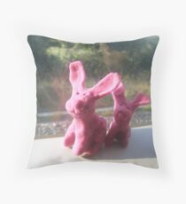 Rabbits on a train II Throw Pillow