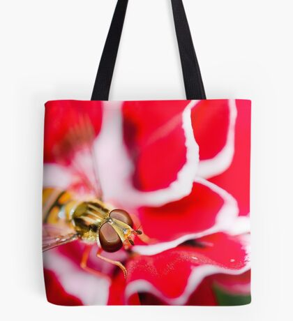 Hover fly on carnation Tote Bag