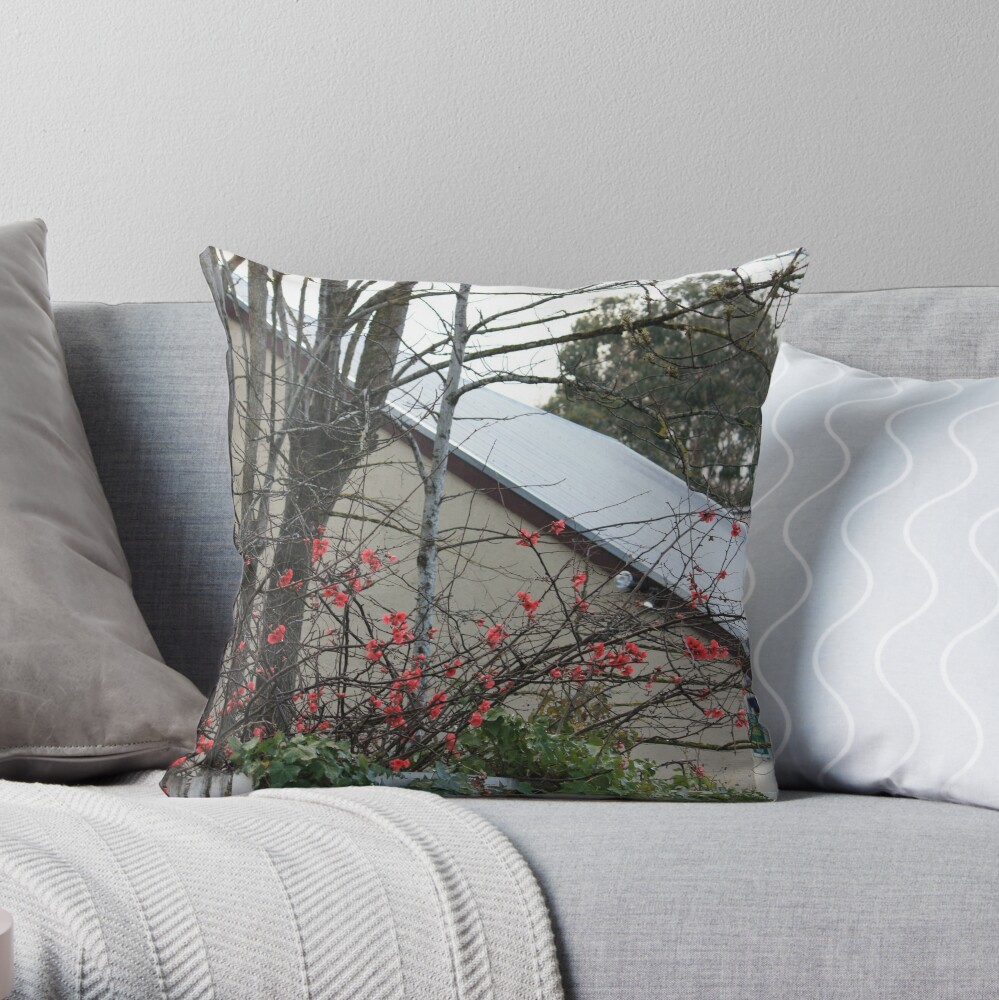 Flowering Quince - Hahndorf main street Throw Pillow