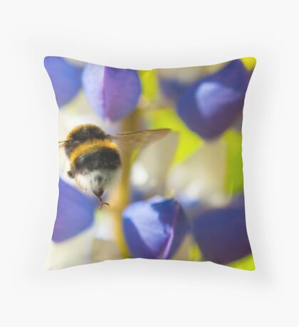 Bumble Bee on Lupin Throw Pillow