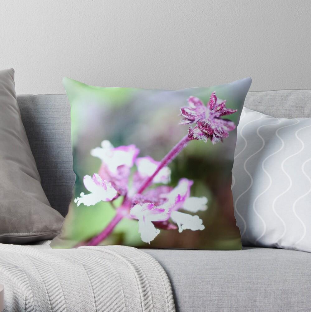 Thai Basil Flower Throw Pillow
