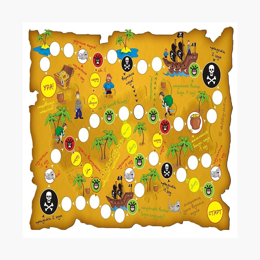 "Board game pirates map ""Treasure Island"" - Настольная игра карта пиратов ""Остров сокровищ"" Photographic Print"