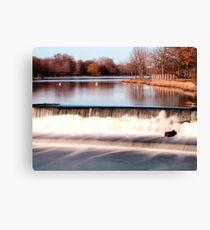 Dam on Fox River in Waukesha, WI  Canvas Print