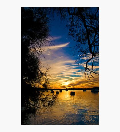 Yacht on Noosa River at sunset 3 Photographic Print