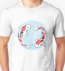 Pescado carpa koi azul Camiseta ajustada