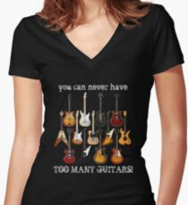 Too Many Guitars! Women's Fitted V-Neck T-Shirt