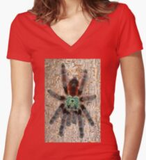 Adult Avicularia versicolor Tarantula Women's Fitted V-Neck T-Shirt