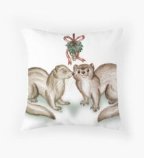 A Ferrety Kiss - Christmas Cards Throw Pillow