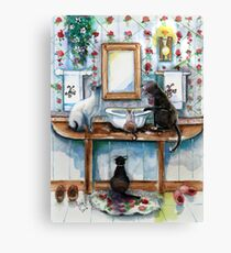 Cats in my Powder Room Canvas Print