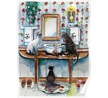 Cats in my Powder Room Poster