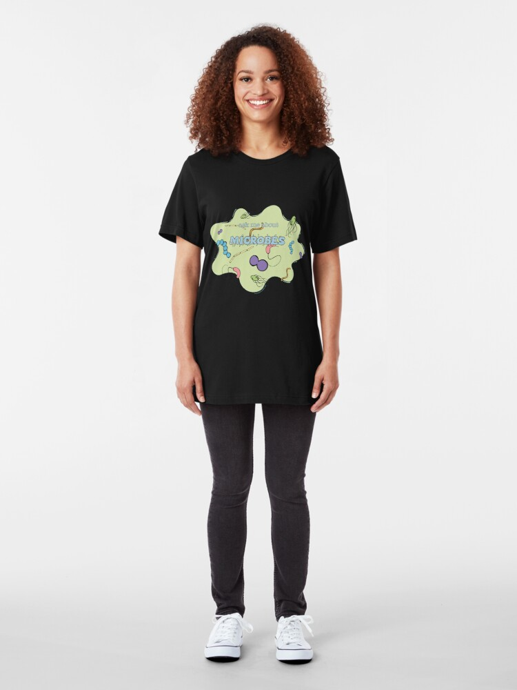 Alternate view of Ask me about MICROBES Slim Fit T-Shirt
