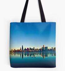 Chicago skyline at sunrise. Tote Bag