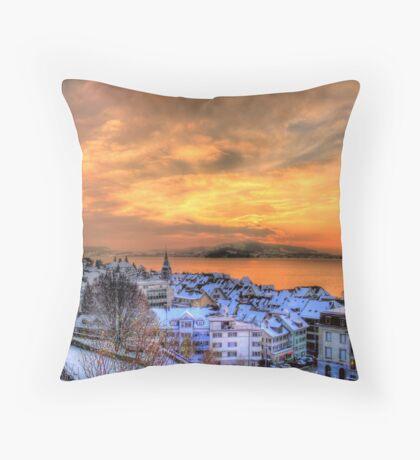 Swiss Winter Sunset Throw Pillow